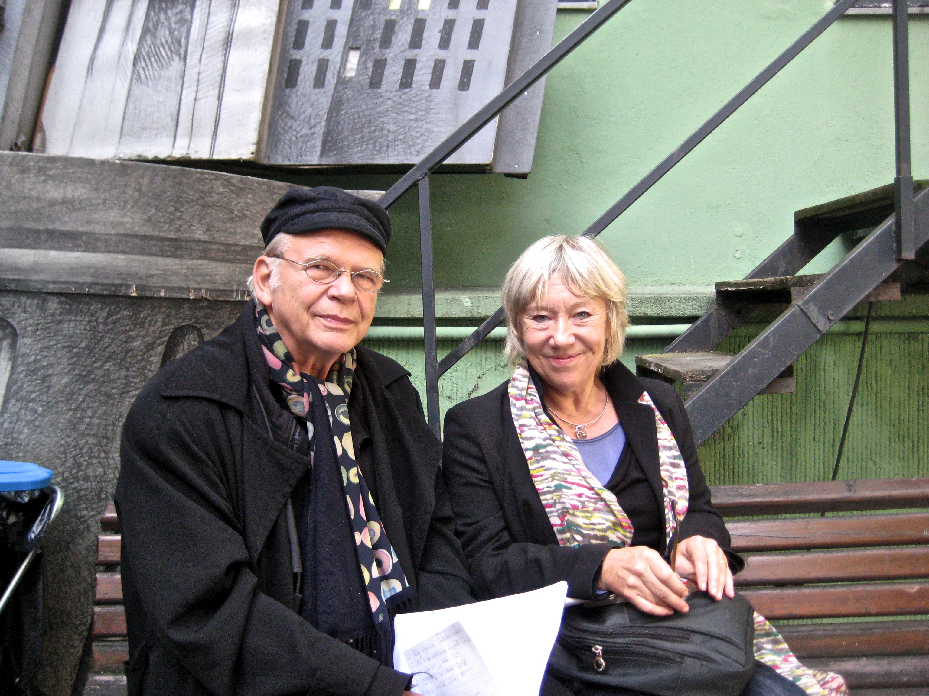 Actor Tricia Kelly with playwright Manfred Karge at the Berliner Ensemble.
